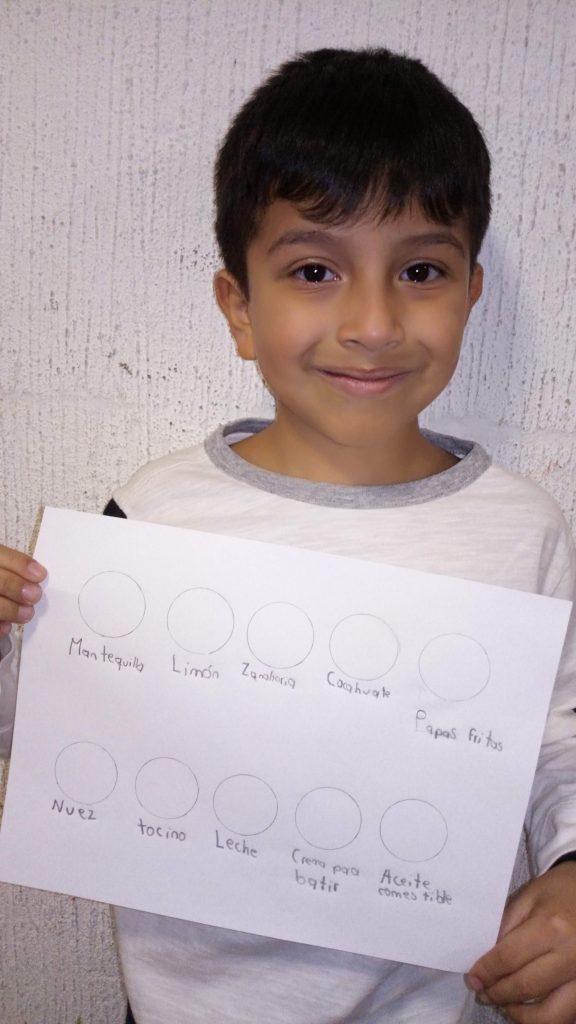 Trazar 10 círculos y colocar nombre de alimentos